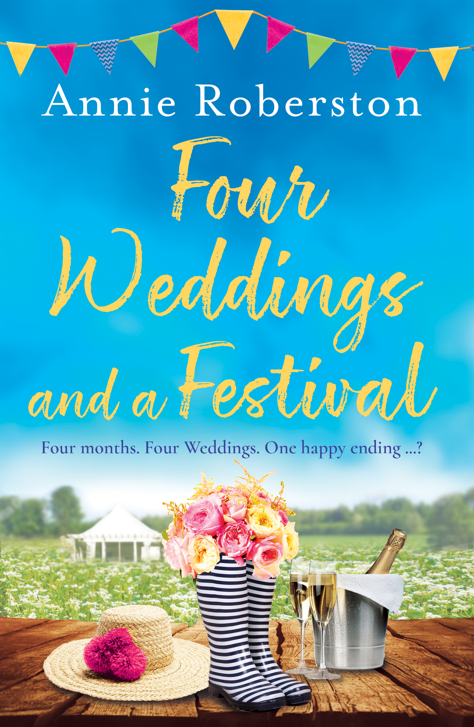 FOUR WEDDINGS AND A FESTIVAL  Contemporary, 320 pages Orion, July 2019   Bea, Lizzie, Hannah  and  Kat  always joked about getting married in the same year: their own 'Four Weddings' romance. Lifelong romcom fans, they've curled up with  Bridget Jones , sobbed at  Love, Actually , and quoted the script to  Notting Hill  more times than they can count. And now, after a flurry of engagements, it seems the Four Weddings summer has finally arrived.  But  Bea  isn't so sure - after all, her poky flatshare is pretty far from a Notting Hill mews, and her long-term boyfriend Simon isn't exactly leading man material. When she turns down Simon's proposal, the rest of the gang are determined to find Bea her own Hugh Grant, by setting her up with a different date at every wedding...  As the cracks in their Richard Curtis dream begin to show, Bea is more and more certain that she  doesn't  want a big white wedding - especially as it seems that there might not be any happy-ever-afters this year, let alone  four ...