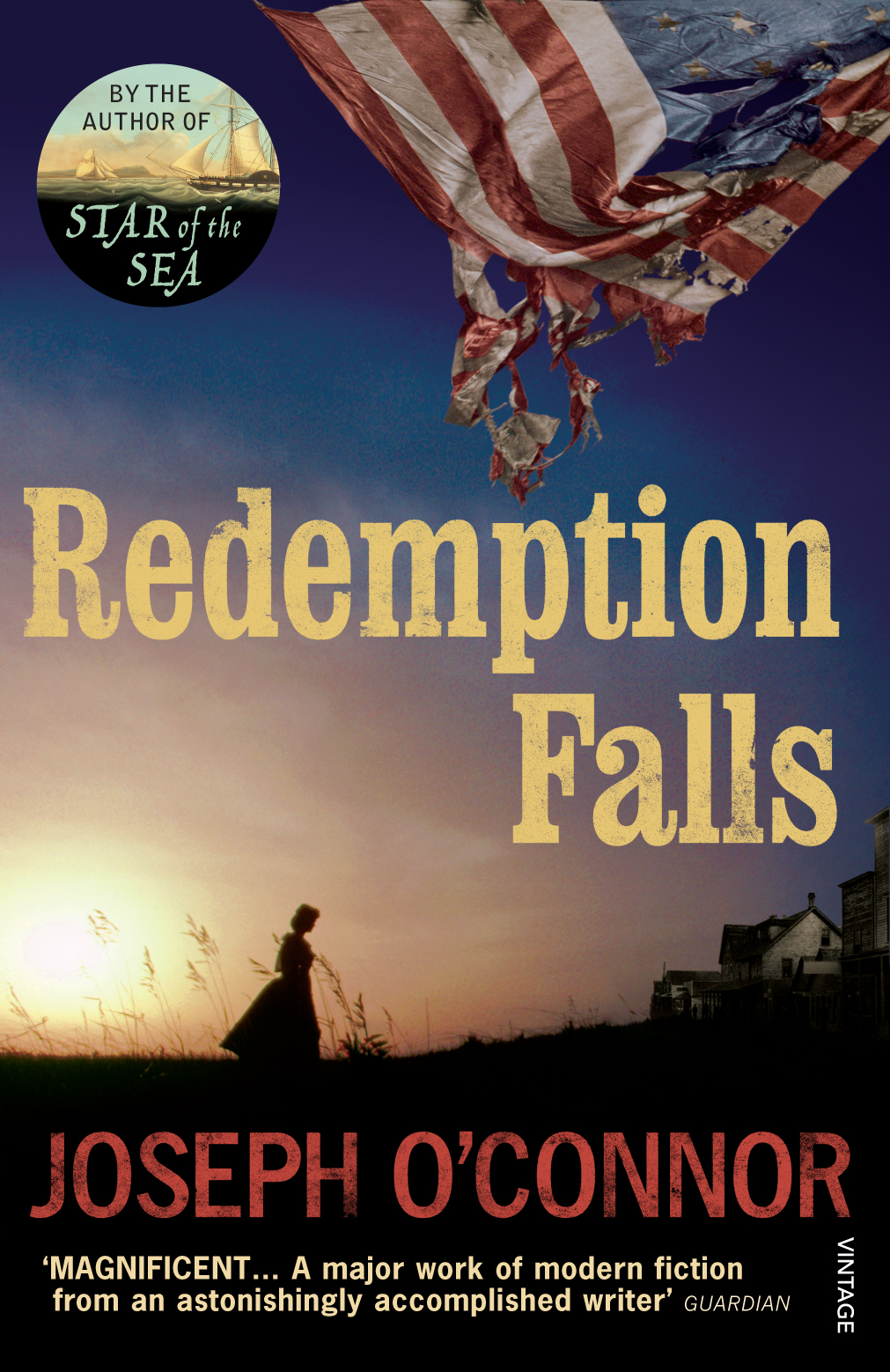 REDEMPTION FALLS  Literary fiction, 464 pages, Vintage, May 2008  1865. The American Civil War is ending. Eighteen years after the famine ship Star of the Seadocked at New York, the daughter of two of her passengers sets out from Baton Rouge, Louisiana, on a walk across a devastated America. Eliza Duane Mooney is searching for her younger brother she has not seen in four years, one of the hundred thousand children drawn into the war. His fate has been mysterious and will prove extraordinary.  It's a walk that will have consequences for many seemingly unconnected survivors: a love-struck cartographer, a haunted Latina poetess, rebel guerrilla Cole McLaurenson, runaway slave Elizabeth Longstreet and the mercurial revolutionary James Con O'Keeffe, who commanded a brigade of Irish immigrants in the Union Army and is now Governor of a western wilderness where nothing is as it seems.