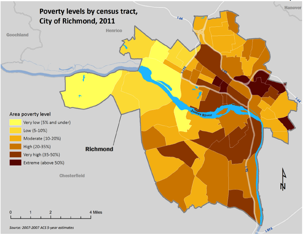 """The map is taken from HOME of VA, """"An Analysis of Impediments to Fair Housing Choice, City of Richmond, VA 2013-2015,"""" prepared for the City of Richmond, Department of Economic and Community Development, Community Development Block Grant, on-line document at  http://www.phonehome.org/Portals/0/Images/PDF/RIC_FINAL_6282013.pdf ."""