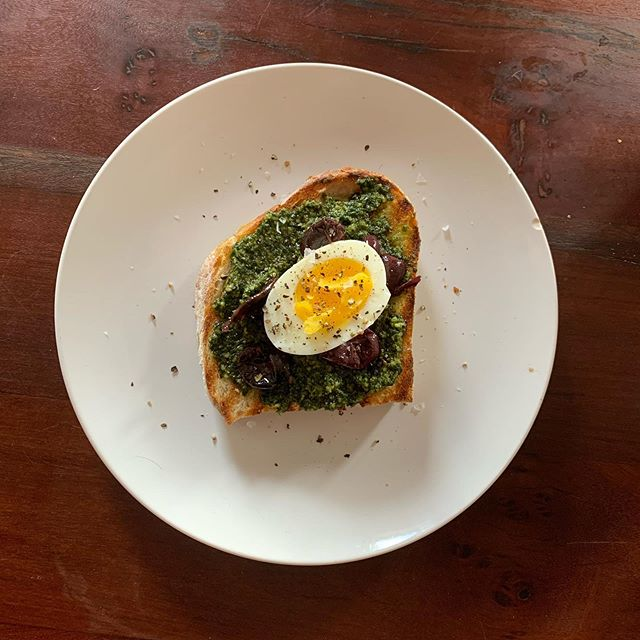Soft boiled egg and pesto and toast. #morning