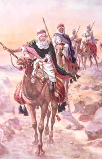 A fanciful but probably notwildly inaccurate image of Kitchener in the desert disguised as an Arab, complete with Berber-style musket, from  Brave Deeds by Brave Men  by C. Sheraton Jones, 1922
