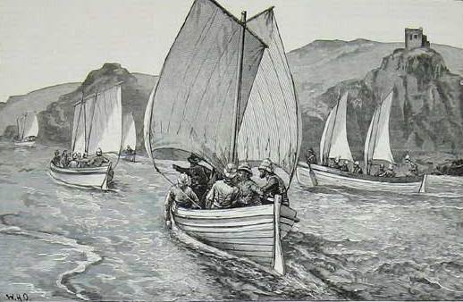 The 'whaleboats' of the Nile expedition were its distinctive feature, and in some ways its downfall. In western Canada in his 1870-1 'Red River' campaign against the rebel Louis Riel, General Wolseley had successfully taken his expedition upstream for hundreds of miles using native boatmen to portage and haul their vessels around the rapids of the Winnipeg River. He decided to repeat the plan on the Nile, using hundreds of specially constructed vessels based on the design of Royal Navy ship's boats, oar-powered but fitted with a centreboard for sailing. Here we see an age-old image of Nile navigation, with boats using the prevailing southerly wind to sail upstream, against the current. Unfortunately this image did not represent the norm for the expedition and most of the time was spent hauling the boats through the rapids or 'cataracts' of the Nile, where the weight of the boats - compared to the Canadian craft of the Red River expedition - proved to be Wolseley's undoing. After months of backbreaking effort the river expedition was abandoned without a single whaleboat having made it to Khartoum.