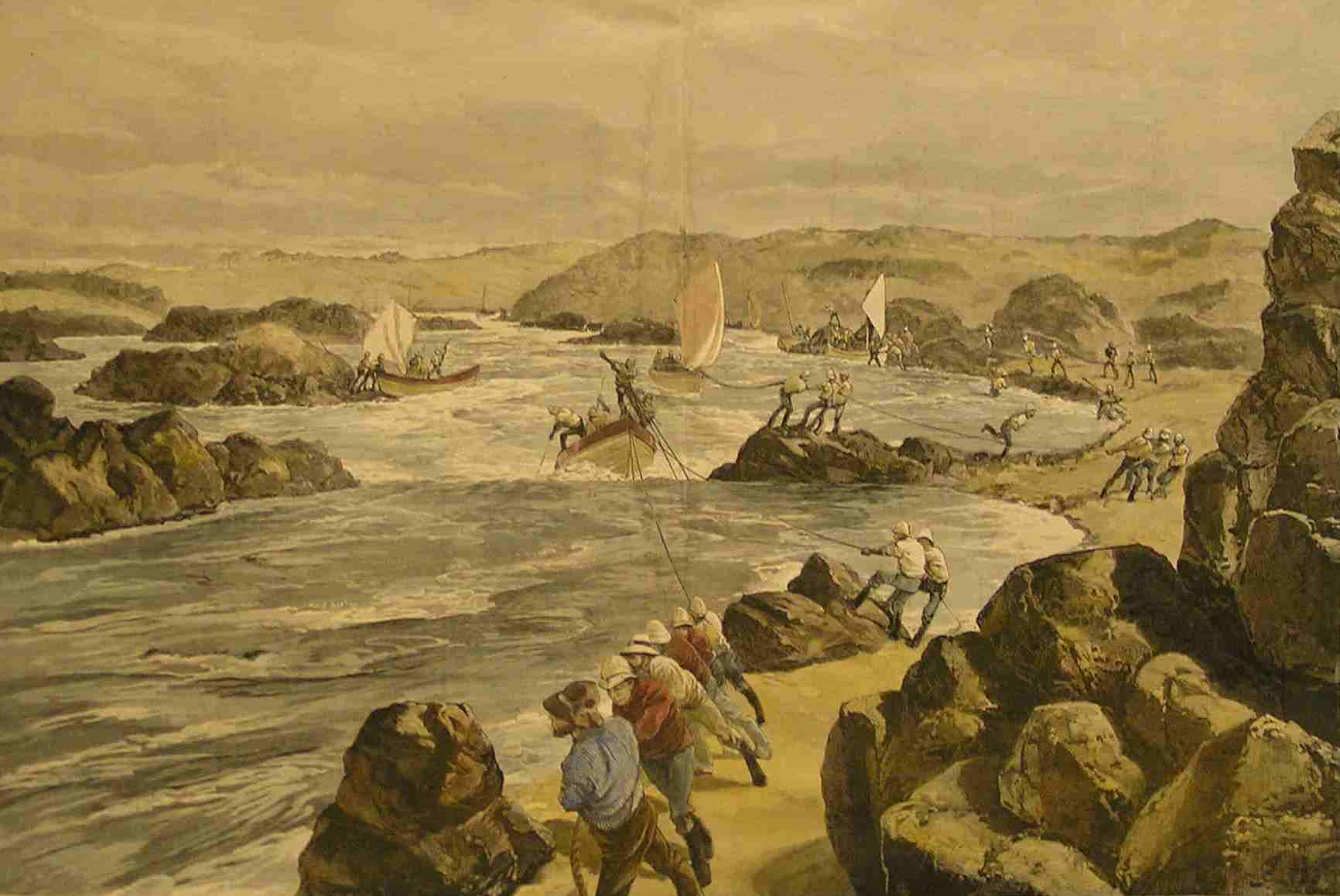 There was no alternative through the worst of the cataracts than to haul up the whaleboats by human labour, as animals or steam traction was impossible. This beautiful picture, cut from  The Illustrated London News  and hand-coloured, is of special interest for showing a Canadian voyageur in the foreground, one of a contingent of almost four-hundred men - including some forty Iroquoian Mohawks - brought over by General Wolseley because he had been so impressed with their skills as boatmen during his Red River expedition in western Canada fourteen years earlier. Instead of the anonymous officer of several of the other sketches, this one was by Melton Prior, special correspondent for the  Illustrated London News  during the Nile campaign.