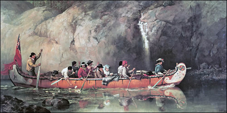 'Canoe manned by Voyageurs passing a waterfall', painted by Frances Anne Hopkins in 1869. Hopkins was an English artist married to an official of the Hudson's Bay Company who accompanied her husband on his travels into the Canadian interior, depicting them together in her paintings – as here, in the centre of the canoe. Her attention to detail and personal experience means that her paintings give a valuable picture of voyageur canoes at the time of the 1870Red River Expedition.