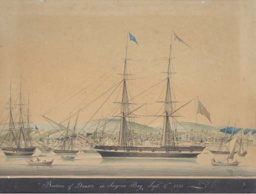 This watercolour, entitled  Beatrice of Dundee in Smyrna Bay, September 17th, 1832 , is variously attributed to the Marseilles marine artist Mathieu-Antoine Roux (1799-1872) or the Turkish watercolourist Raffaele Corsini. Despite also being a brig and being present in the Mediterranean in the right decade – Smyrna is modern Izmir in Turkey – it seems likely that this vessel is another  Beatrice , recorded elsewhere as trading out of Dundee and like the other  Beatrice  also being involved in transatlantic traffic, taking passengers to New York in 1830. The  Beatrice  of Dundeewas smaller, recorded at 174 tons, but this picture gives a good impression of how the larger  Beatrice  might have looked, with the same basic rigging and the line of gunports.