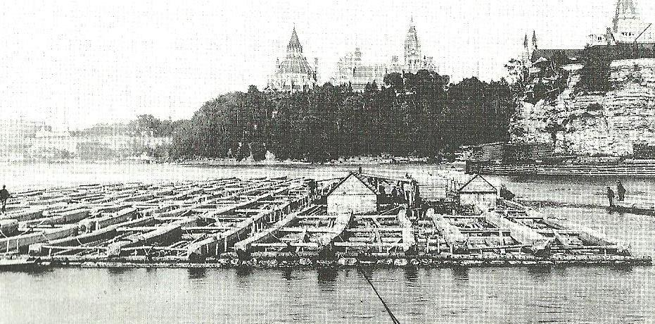 A huge timber raft on the Ottawa river below the Canadian Houses of Parliament in the 1890s, the same source of Canadian timber that had been used to build the  Beatrice  at Quebec some sixty years earlier.