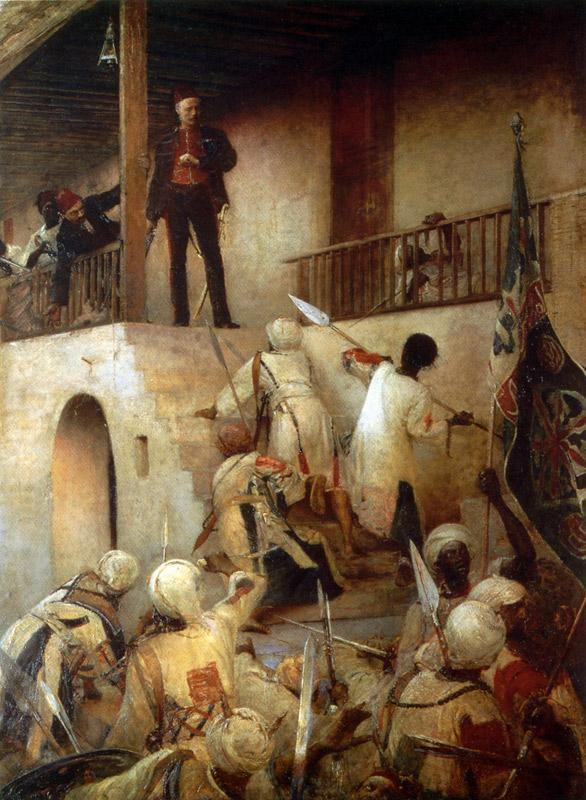 'The Death of General Gordon at Khartoum, 26 January 1885' by George Joy (1893). In this version of events, Gordon is standing coolly on the balcony of the Palace, about to receive a fatal spear-thrust; other accounts by Sudanese eyewitnesses suggest that he died fighting inside the building, using his early-model Webley revolver and his Royal Engineers officers' sword.
