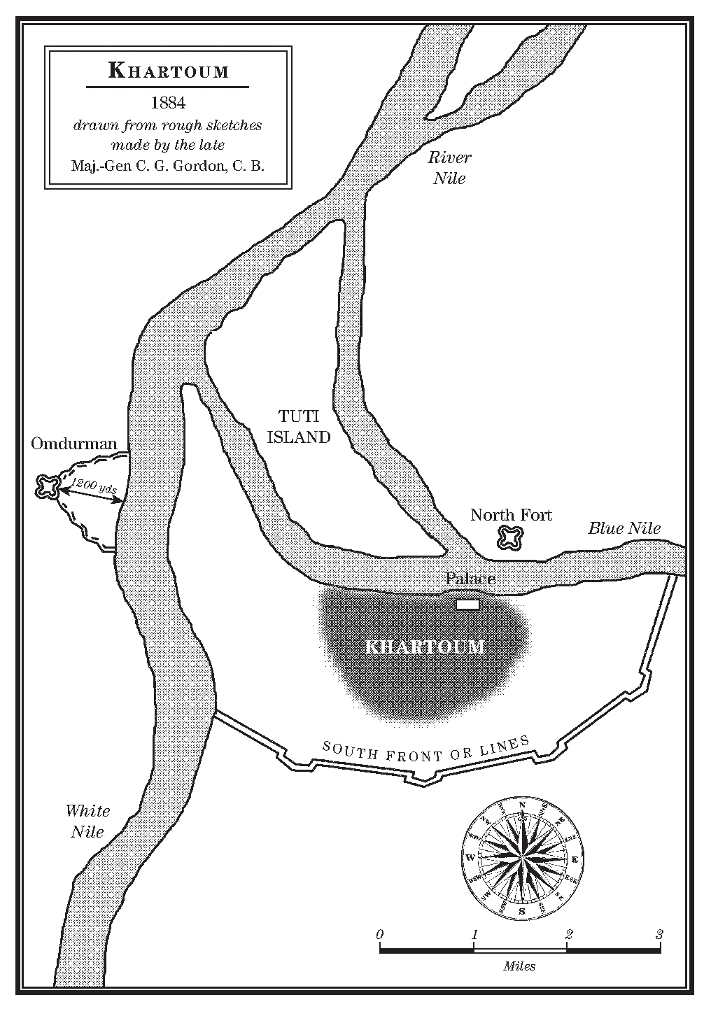 Key settings in my novel are the Governor's Palace on the south side of the BlueNile and the North Fort on the opposite bank, to the east of Tuti Island. To the south you can see the defensive walls that Gordon attempted to strengthen, and on the west bank the fort of Omdurman where the main Mahdist force was encamped and where Kitchener fourteen years later exacted his terrible revenge for the murder of Gordon.