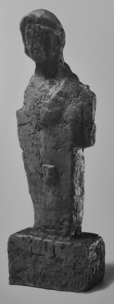 A wooden statue probably of a male ancestor from the House of the Mosaic Atrium at Herculaneum (height 28 cm). This is of particular interest because it's a herm, with veryschematic genitalia, and could therefore be seen as ancestral to the type of herm showing high-quality sculpting and 'verism' seen in the bust of Caecilius above -and yet this wooden herm is crude in the extreme and hardly a realistic ancestor portrait.
