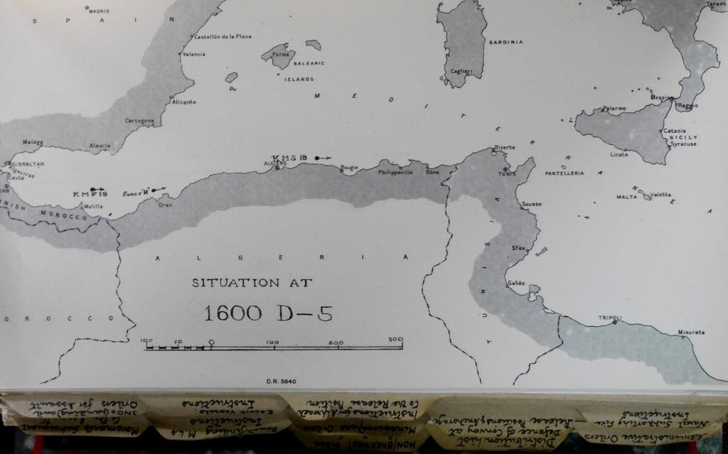 One of a series of maps in the Force V Naval Operations Orders predicting the location of convoy KMS 18 as it neared Sicily - in this case very closely predicting her position off Algiers on D-5 (5 July) when she was attacked by U-593, resulting in the loss of Devis.