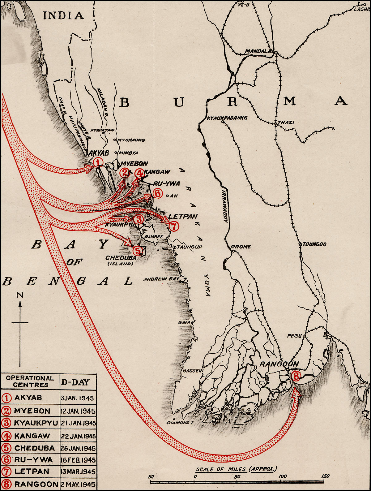 Map showing ambhibious operations undertaken by the Royal Indian Navy in 1945, including the landings at Akyab on 3 January - site of the cancelled Operation Bullfrog landings of a year earlier. Chittagong lies on the Indian coast at the top left corner. (From  The Royal Indian Navy, 1939-45 , part of  The Official History of the Indian Armed Forces in the Second World War ).