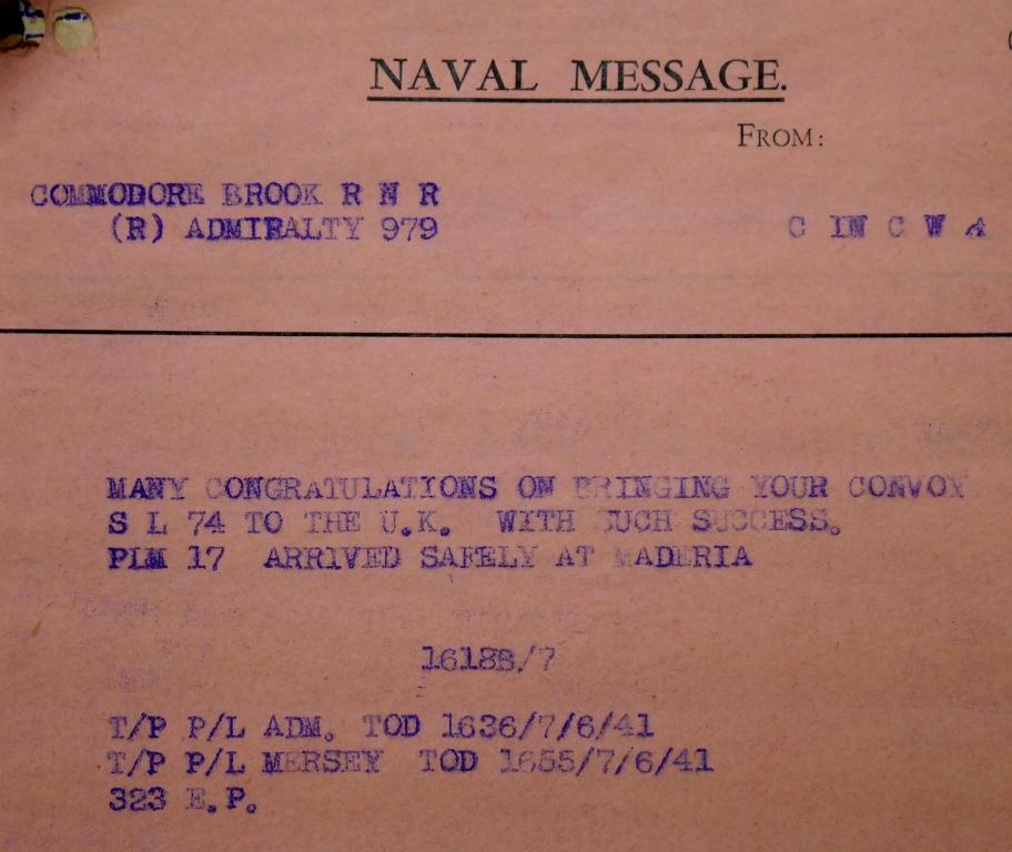 Convoy SL-74, UK National Archives, ADM 237/1187).