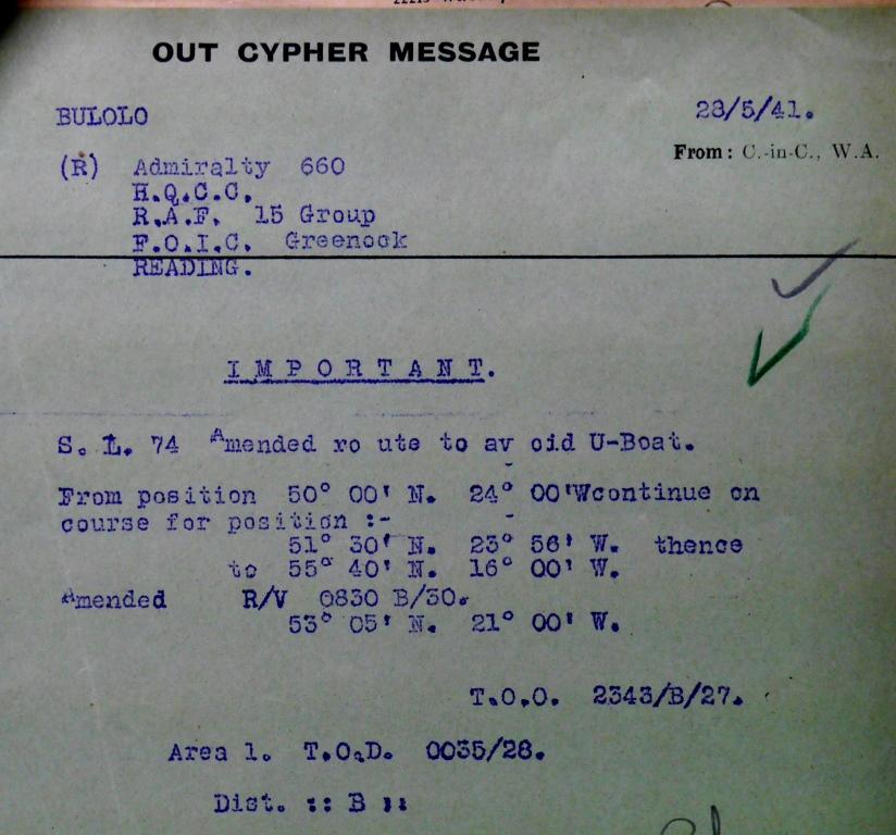 Convoy SL-74, UK National Archives ADM 237/1187).