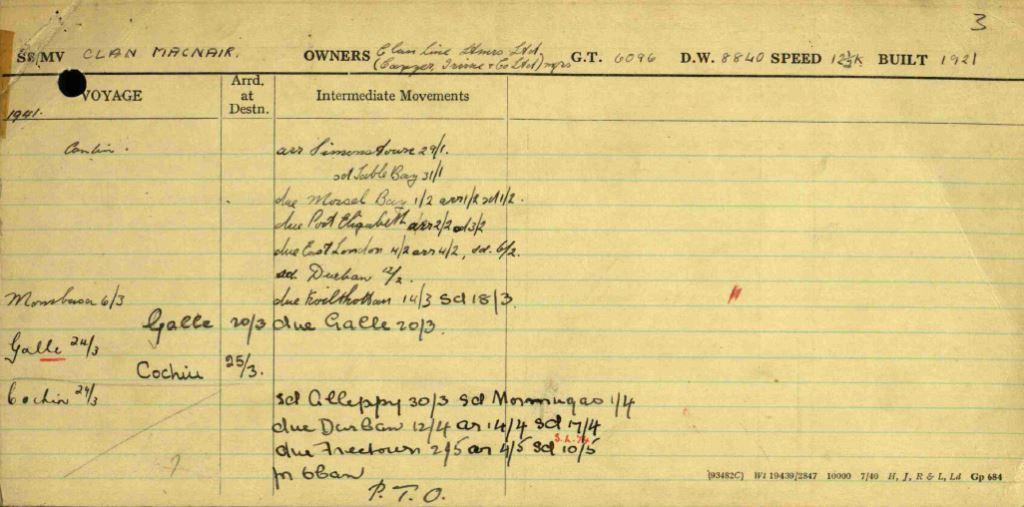 The Ship Movement Card for  Clan Macnair  showing her departure from Freetown on 10 May 1941 in convoy SL-74 (an unusual detail, as the cards rarely identify convoys) (UK National Archives).