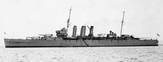 HMS  Dorsetshire  before the war (Imperial War Museum, Q 65701).