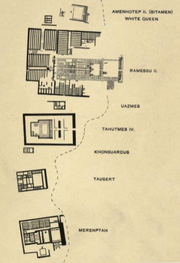 Petrie' original plan from his 1897 report  Six Templesat Thebes  showing the Temple of Merenptah at the bottom.