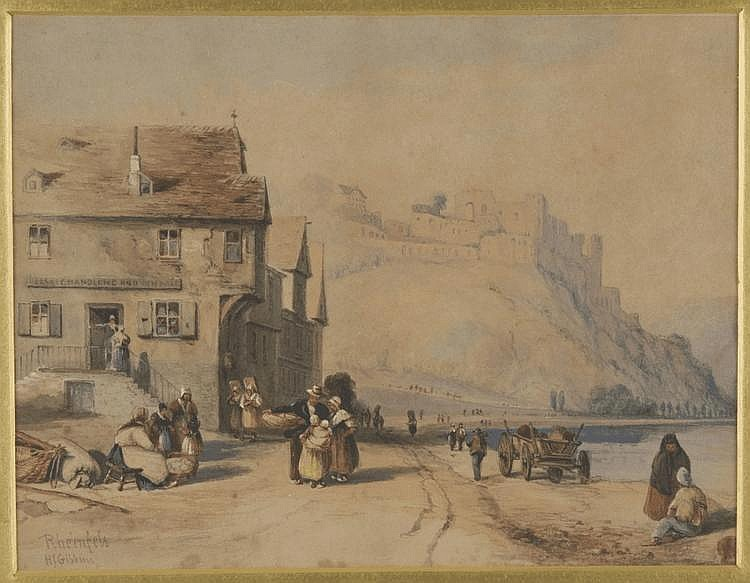 'Rheinfels' by H.J. Gibbins (watercolour, approx. 22 by 29 cm).