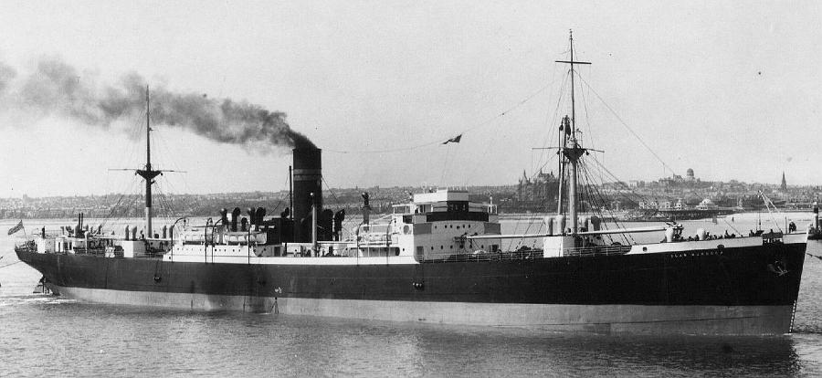 Asuperbimage of  Clan Murdoch  before the war. The 12 pdr high-angle gun would have been mounted in the bow, so this image shows where the photo of the gun crew would have been taken. My grandfather was her Second Officer from 1937 until April 1941.