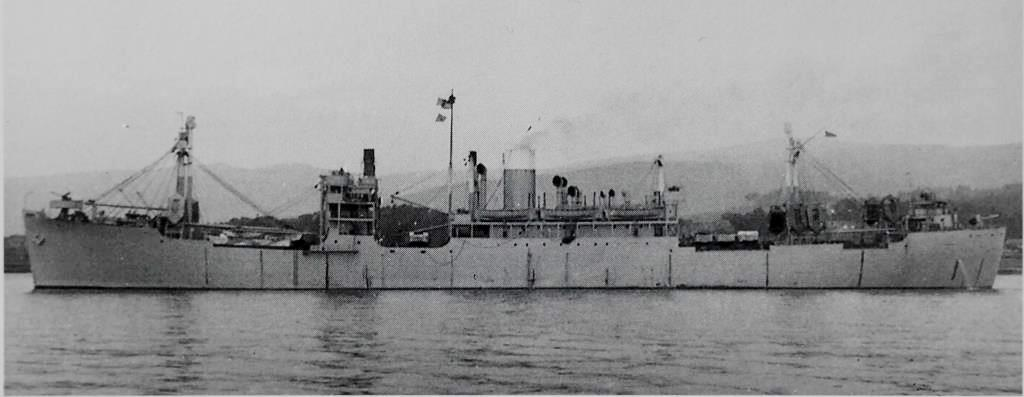 No pictures are known to me of  Clan Murdoch  during the war, but this photo of another of my grandfather's wartime ships,  Clan Campbell  - on which he was Second Officer for one voyage from India to England in late 1944 - gives an excellent impression of the wartime appearance of a British merchantman, including the grey paint scheme, the skid-mounted life rafts and the armaments. This  Clan Campbell  - the fifth Clan ship to bear the name - had been built to wartime specifications in 1943 with tubs fora 12 pdr high-angle gun forward, a 4-inch low-angle gun aft and 20mm Oerlikon or Bofors guns above the bridge and deck house. These would have replaced the Lewis guns and other rifle-calibre machine guns used earlier in the war, as seen in the propaganda poster above.