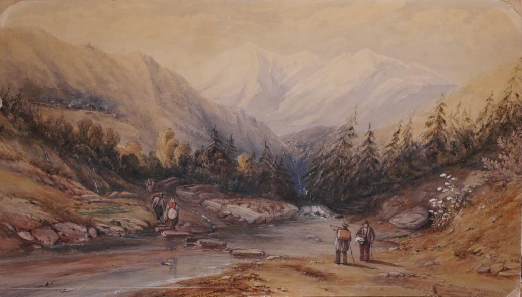 'Near Brienz, Switzerland' by H.J. Gibbins (watercolour on board, 26 by 45.5 cm).