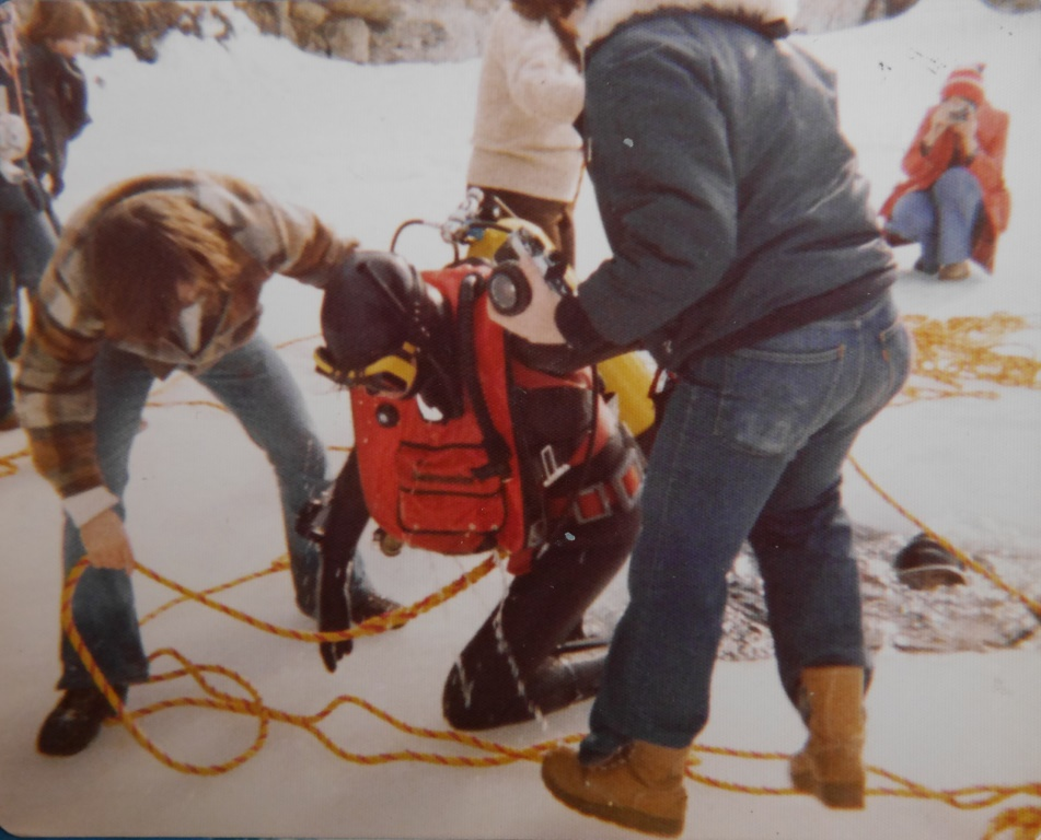 Emerging from my first ice dive, March 1979. Click  here  for more images from that dive, and  here  for an ice dive in 2011.