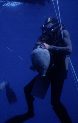 Raising an amphora from a Roman wreck off Sicily. For more on that site see my  Archaeology  page.