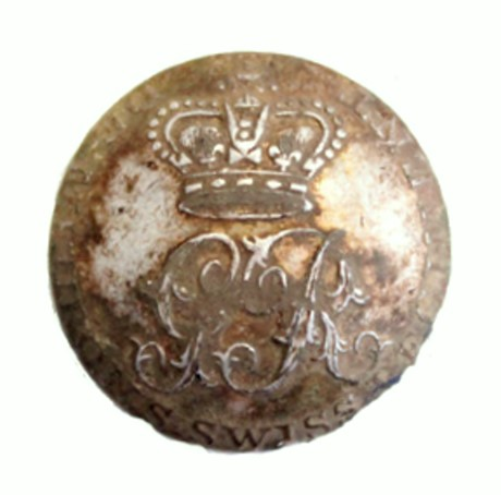 A button from England with 'De Meuron's Swiss Regiment' around the edge. For details of the find click  here.
