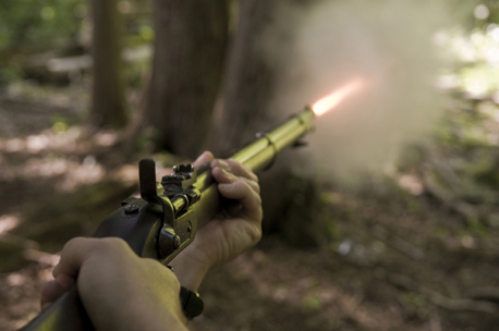 Imageof me shooting an 1860s Snider-Enfield rifle, just as Lieutenant Howard does in my novel  The Tiger Warrior (photo: Alan Gibbins).