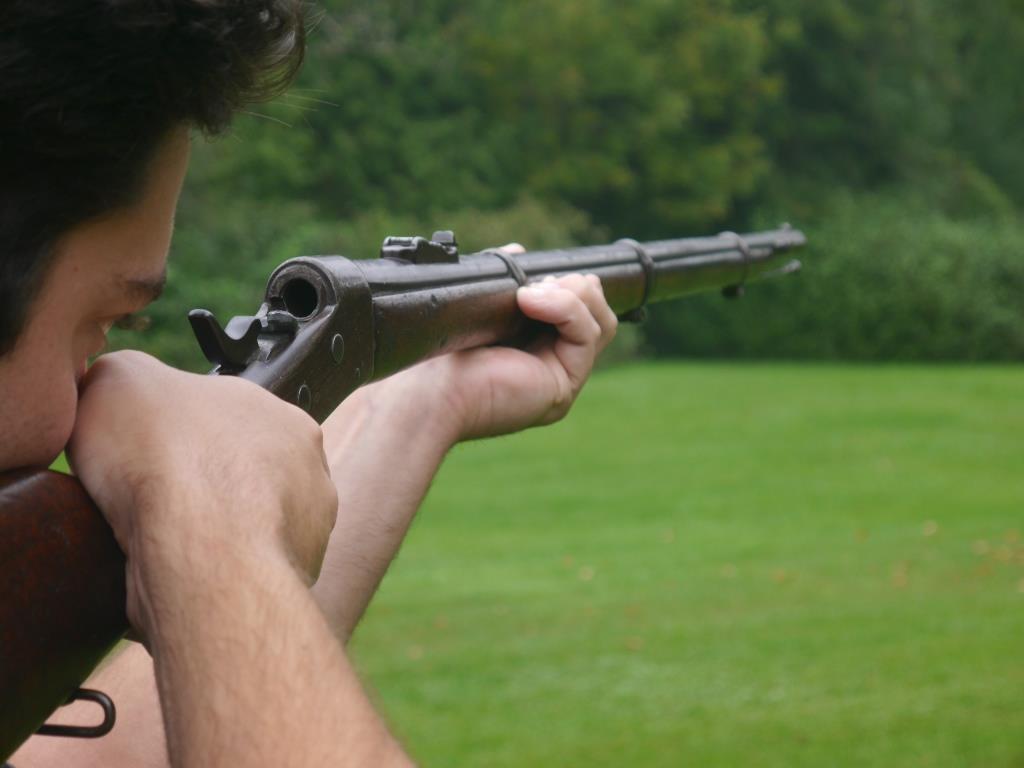 Remington with breech open.