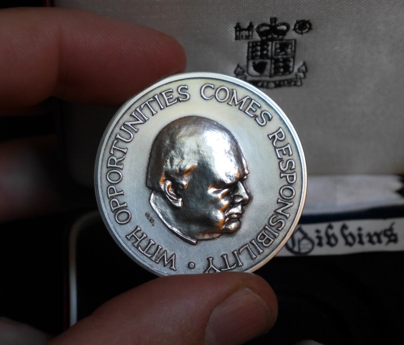 Churchill Medallion awarded to me on completion of my Winston Churchill Memorial Trust Fellowship.