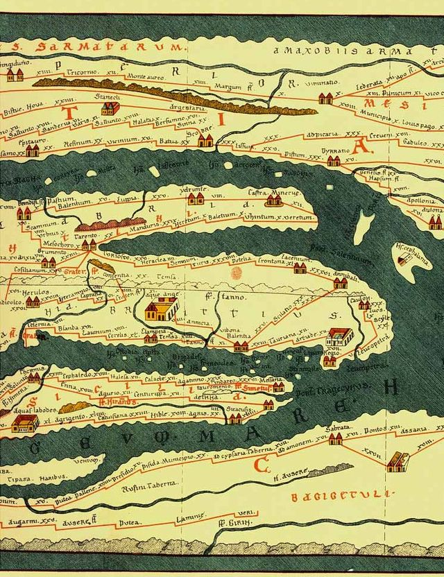 A 13th century rendition of part of the   Tabula Peutingeriana   (click to enlarge), a Roman road itinerary probably set down in the 4th or 5th century AD - about the time of my novel. This section is particularly relevant to the story because in the land mass at the top it shows the river Danube, the route taken by my protagonists towards the Hun capital. Below that you can see the Adriatic Sea, the foot of Italy, Sicily and the North African coast. Clearly, rather than being an attempt at a geographically accurate map, this rendition is a framework for depicting the road networks and inter-relation between cities and towns - a little like the London underground map (this image is taken from an 1887 facsimile by Konrad Miller).