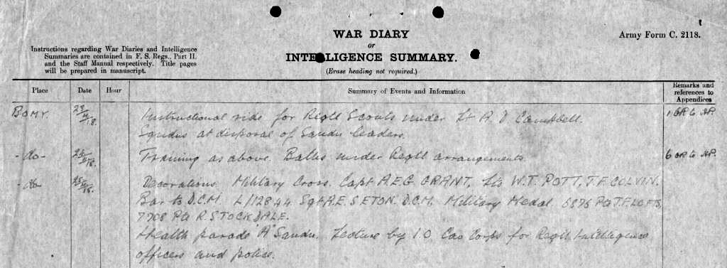 Entry in the 9th Lancers War Diary of 25 April 1918 showing the award of the Military Medal to Private J.F. Lofts (UK National Archives,  WO 95/1113/2 ).