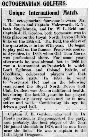 Part of an article in   The Straits Times   (Singapore) of 10 December 1906 on the 'Octogenarian Foursome', including Captain T.E. Gordon (the initial J is an error). In fact, he was only 78 at the time, though the combined ages of all four men did produce an average age of over 80!