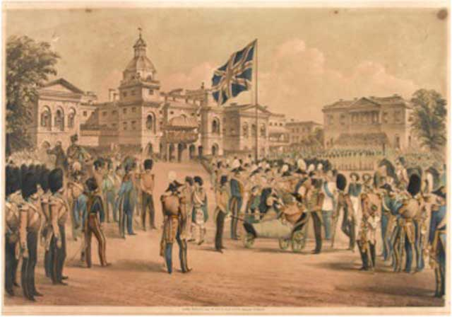 While George Fenton was taking photographs at the Front, John Lawrenson was one of four officers of the 17th Lancers present on 18 May 1855 at Horse Guards Parade in London to receive their Crimea Medal from the Queen, in a ceremony for wounded and sick soldiers who had been sent home. A list of all the officers receiving medals was widely published in the newspapers at the time. This is one of several contemporary  depictions of the event to show the Queen with  Colonel Troubridge , who was wheeled out in a bath chair - he had lost one leg and the other foot at the Battle of Inkerman. As discussed  here , the Queen in her journal recorded her satisfaction in touching the hand of every soldier there, whether private or officer; it was said that some soldiers were reluctant to give up their medals for engraving, fearful that they would not get back the one touched by the hand of their Sovereign (Unknown artist, 'Distribution of War Medals by the Queen', coloured lithograph published by Read & Co., 8 June 1855. National Army Museum).