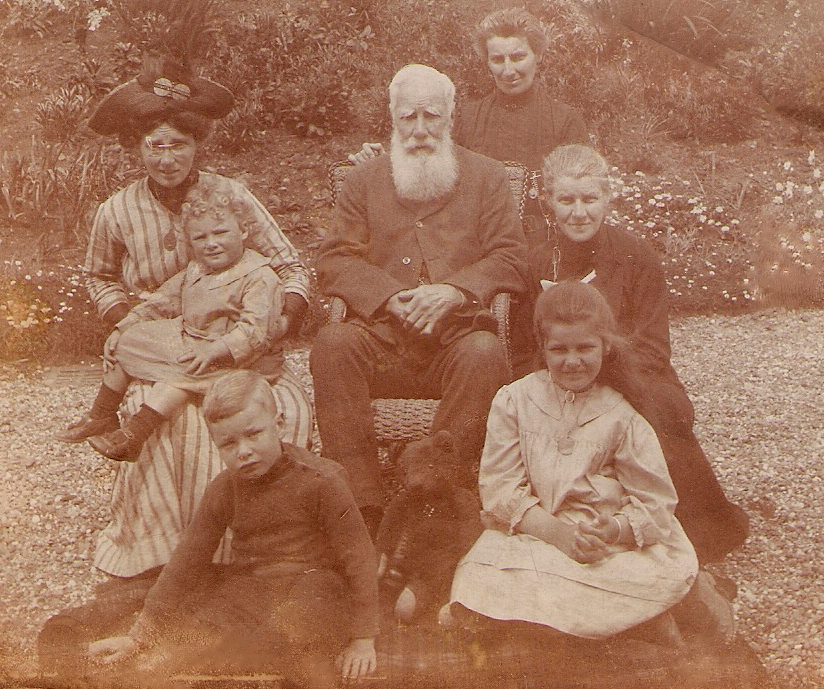 The boy in this photo, taken at Northam, Devon, about 1915, is my grandfather  Lawrance Wilfred Gibbins ; behind him is his mother Helen Mary with her daughter Monica, and in the middle is Helen's grandfather Captain  Thomas Edward Gordon , with two of his daughters and a niece on the right. Like his father James before him Thomas had retired to England, leaving management of Clifton Station in New Zealand to his sons, and he lived for many years in a large house called Porthill in Northam and then at Cluden Bank (where this photo was taken) near 'Westward Ho' where he was able to indulge in his passion for golf. Because I knew my grandfather very well - he died in 1986, when I was 23 - and he remembered these visits to his great-grandfather, this picture bridges the generations for me back to the time of Thomas' birth in Benares in 1828 when India was still ruled by the East India Company.