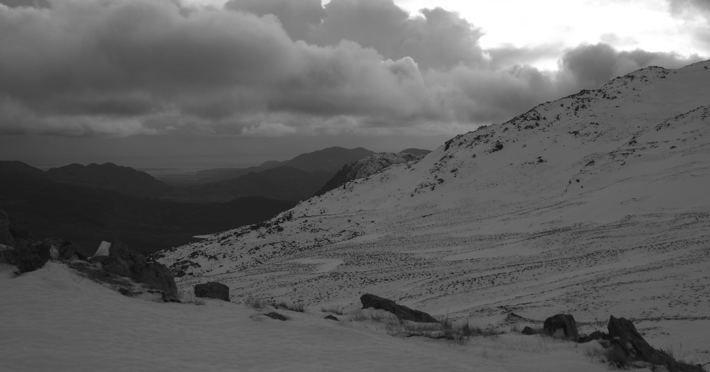 The south slope of the Glyders from Y Foel Goch, with the Irish Sea in the background