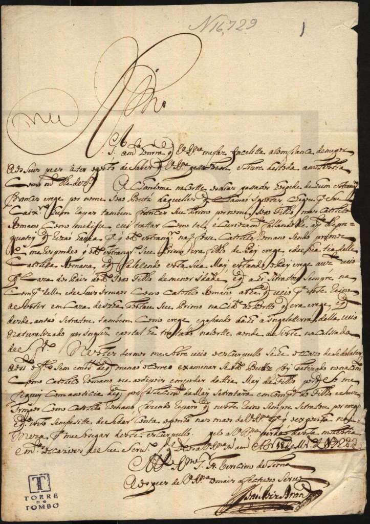 This letter  of 1728 in the Portuguese Inquisition archives is from Rebecca's grandfather João Rodrigues Brandão,and would have been written shortly after his release.