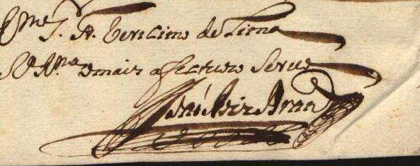 The signature of  JOÃO RODRIGUES BRANDÃO  from the  1728 letter  in the Portuguese Inquisition archives shown above.