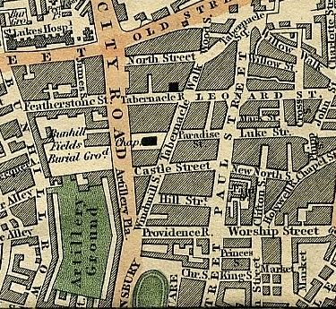 Cruchley's map of 1827  shows the precise location of Tabernacle Walk between Windmill Street and Tabernacle Square, as well as Castle Street at City Road. The addresses given indicate that Daniel's premises were at the junction of Castle Street and Tabernacle Row, where Windmill Street ends on this map.The entire stretch north of Finsbury Square was renamed Tabernacle Street in 1912. Click to enlarge.