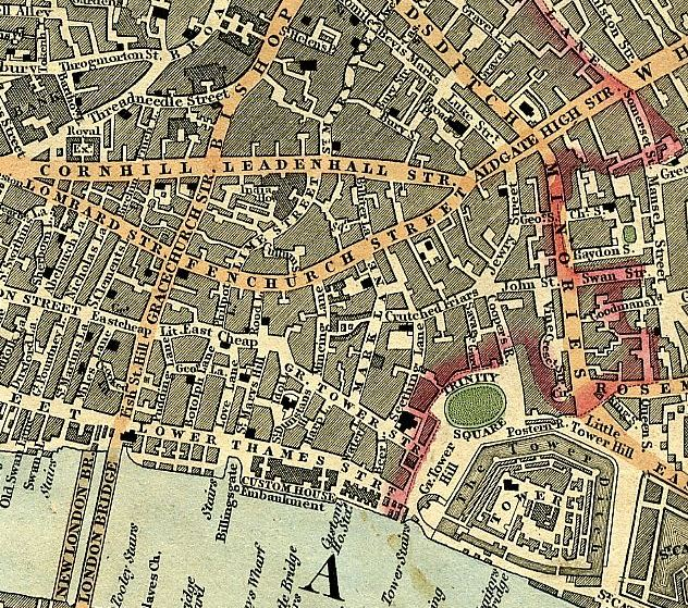 Cruchley's map of 1827  showing the eastern part of the old City of London, with the Minories directly north of the Tower of London and Haydon Square leading off that to the right; Goodman's Fields lies just to the right of that, beyond the edge of the map. Raphael's earlier address, St Mary Axe, adjoins Bevis Marks near the top of the map. His brother Daniel's address at Tabernacle Walk lies to the north of that, beyond this map (see the second map below). Click to enlarge.