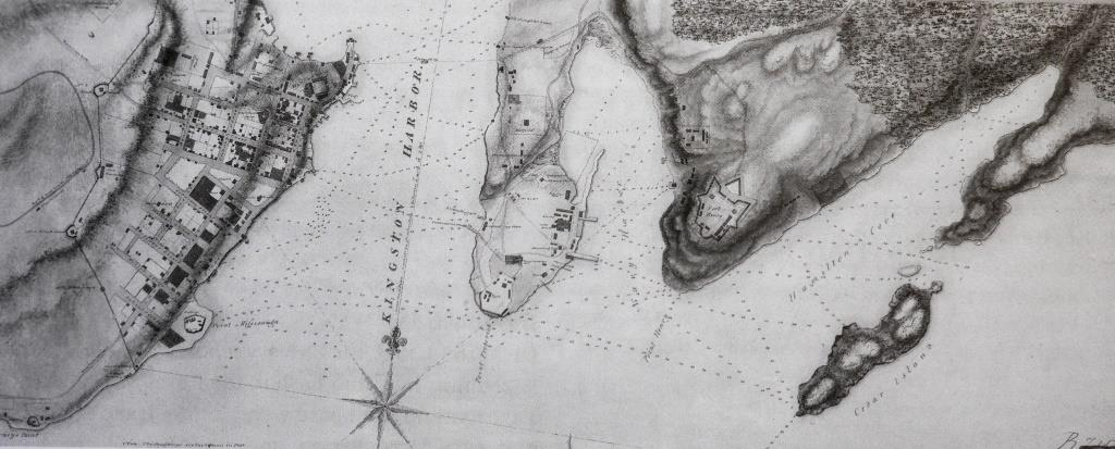 This 1816 map shows, from the left, Kingston town, Kingston harbour, the Royal Navy Dockyard (site of the present Royal Military College of Canada), Navy Bay, the promontory of Fort Henry, and Hamilton Cove, the present Deadman Bay. Today, the wreck of HMS  Prince Regent  is to be found at the very head of Deadman Bay, only fifty metres or so from shore, HMS  Princess Charlotte  about a third of the way down the bay and HMS  St Lawrence  on the opposite shore south-west of Kingston, out of view to the left.