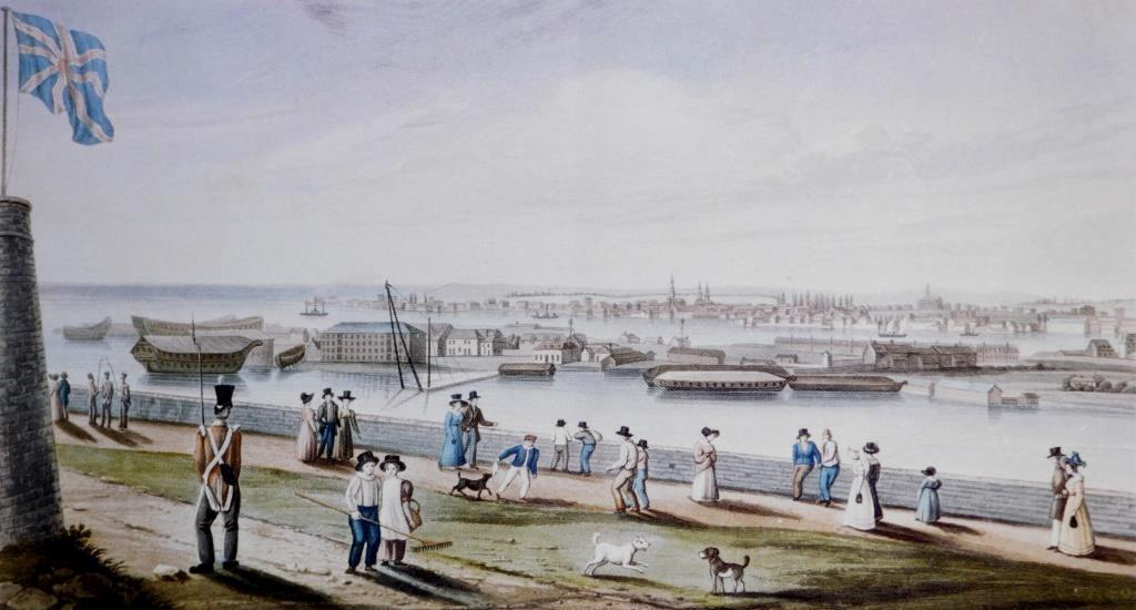 A colour aquatint of 1828 by James Gray showing Kingston from Fort Henry, with the Royal Navy Dockyard (site of the present Royal Military College of Canada) in the centre and the town beyond. The housed-over ship behind the soldier's bayonet is probably HMS  St Lawrence , and that above the solitary lady with the pink top and black hat HMS  Prince Regent , renamed HMS  Kingston  ( National Archives of Canada ).