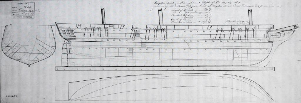 A draught and profile drawing of HMS  Prince Regent  made by Royal Navy surveyor Thomas Strickland in 1815. The V-shaped deadrise of the frames from the keel was even more pronounced on the  Princess Charlotte  ( National Maritime Museum, Greenwich ).