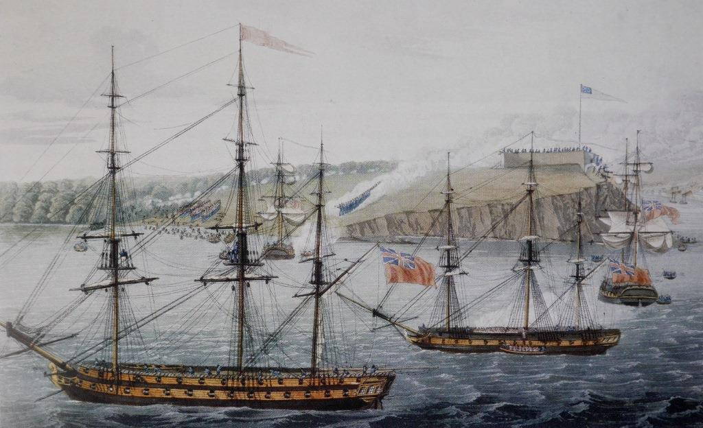 Another 1815 aquatint of the Battle of Oswego based on a drawing by Royal Marines officer present at the action - in this case Lieutenant John Hewett, who climbed the flagpole of the fort and took down the Stars and Stripes. In the foreground HMS  Prince Regent  flies the broad pennant of Sir James Yeo; beyond that the British forces are landing and forming up to attack the Americans, who are on the lower slope opposite with the fort behind them. The entrance to the Oswego river, which allowed the Americans to bring up supplies and armaments from New York, is to the right ( National Archives of Canada ).