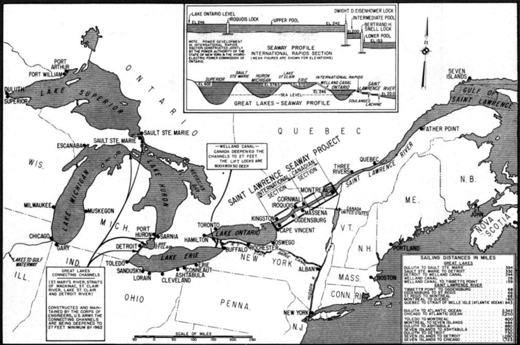 This map  of the 1950s St Lawrence Seaway project illustrates the impact that improved navigation along the river was expected to have, allowing direct transport for large ships between the Atlantic and the Great Lakes.The original Cornwall Canal lies in the middle of the Seaway, mid-way between Montreal and Kingston.