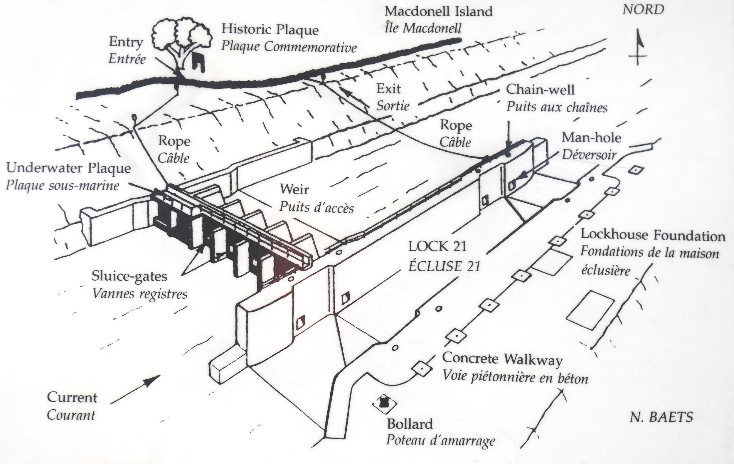 A plan of Lock 21 for divers on display in the information pavilion at the site.For our dive seen in the video we followed the rope down to the weir, went through the sluice gates and came up the other side.(plan: N. Baets).