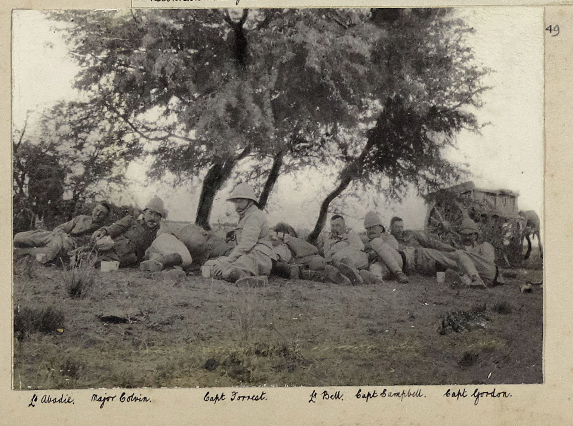 This photograph, entitled 'Reconaissance from Modder River', shows a group of officers of the 9th Lancers resting in South Africa during the Boer War - including Captain Edward Robertson Gordon and Major Forrester Farnell Colvin, authors of  Diary of the Ninth Lancers in South Africa 1899-1902 , and Lieutenant Eustace Abadie, also the author of a diary (see below). It was taken between 28 November 1899, when Colvin arrived with the regiment, and 13 December 1899, when Gordon left to become Brigade-Major of the 1st Cavalry Brigade, and may have been taken on 29 November when Colvin and Gordon's diary records the regiment reconnoitering Modder River and village (copyright 9th/12th Lancers Regimental Museum, Accession No 2090-16-49).