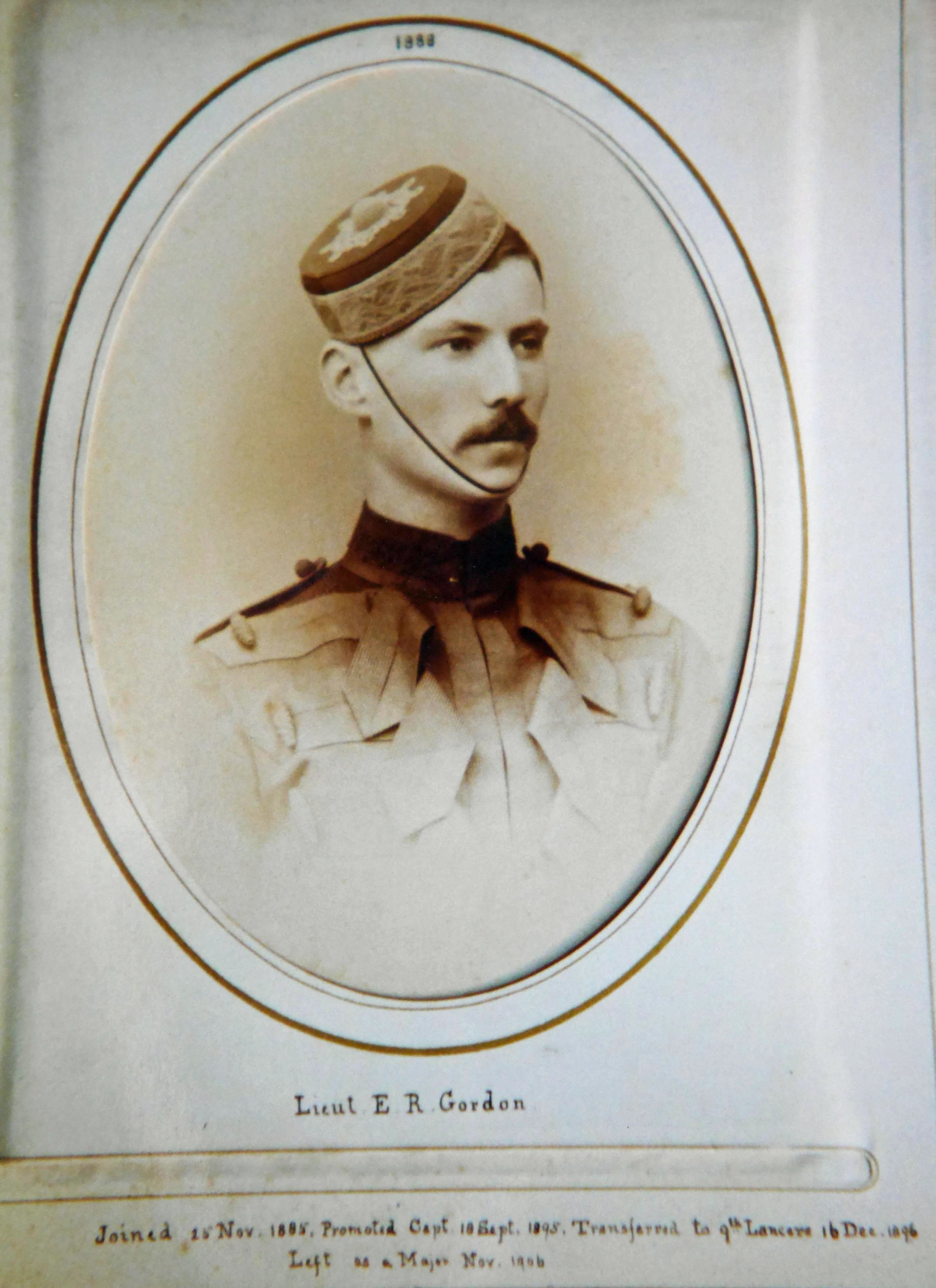 Edward Robertson Gordon as a Lieutenant in the 2nd Dragoon Guards in 1888, when the regiment was in Umballa, India (1st the Queen's Dragoon Guards Regimental Museum).