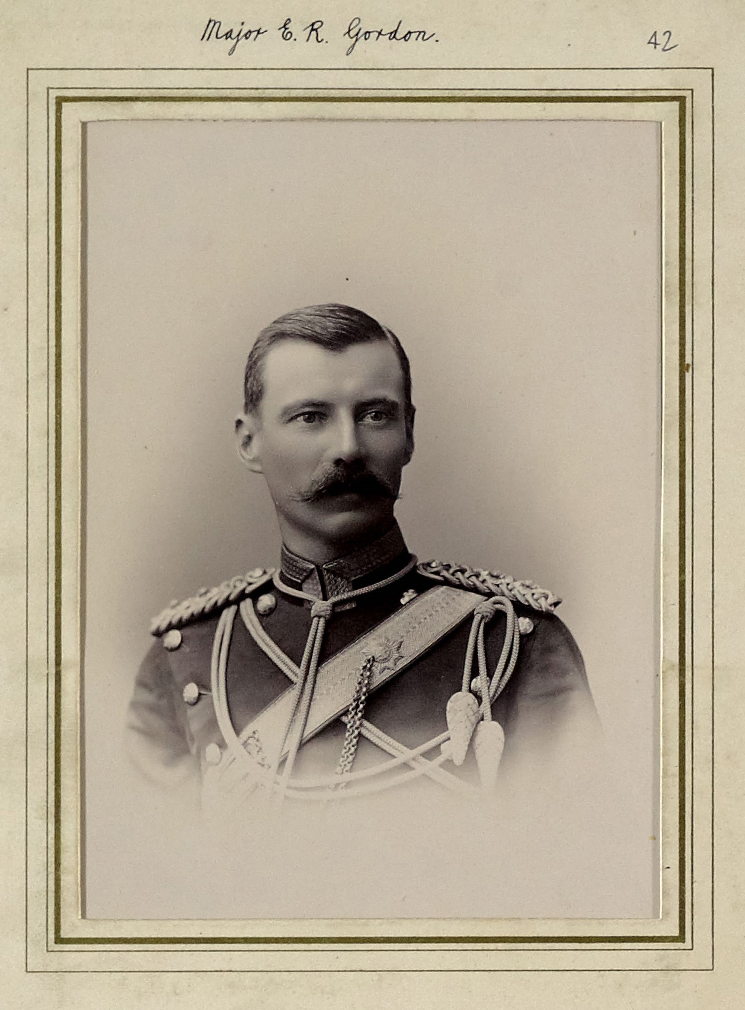 Edward Robertson Gordon as a Captain after his transfer to the 9th Lancers in 1896. The photo dates before 1902 as he does not wear his Boer War campaign medals and has the two stars of a Captain on his epaulettes, increased to three by Army reforms of 1902; as as he was in the field from 1899 to 1902 it seems most likely that it was taken during his first years with the regiment, possibly on joining them in England in 1896 (copyright 9th/12th Lancers Regimental Museum, Accession No 2090-16-42).