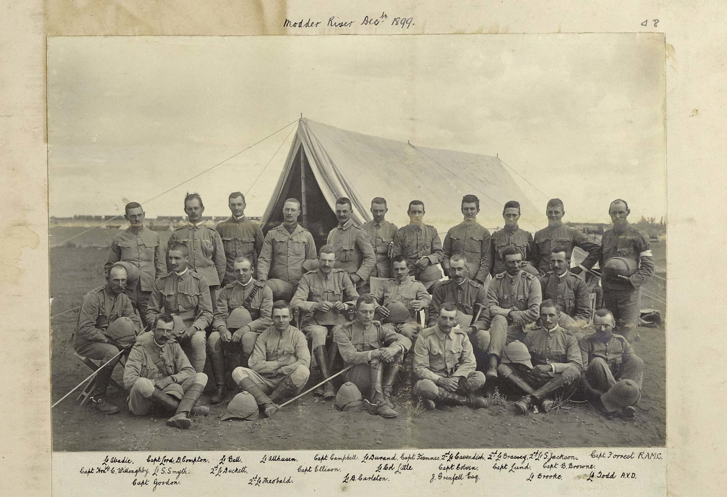 Officers of the 9th Lancers at the Modder River, South Africa, in December 1899, including Captain Edward Robertson Gordon (lower left), Major Colvin and Lieutenant Abadie, authors of the diaries cited here. Of this group, Brassey was killed, Ellison died of disease, Cambell, Gordon, Durand, Cavendish, Sadleir-Jackson, Little and Brooke were wounded, and Theobald became a prisoner of war. J. Grenfell Esq' is likely to be John Pascoe Grenfell, a Lieutenant in the Buckinghamshire Yeomanry and brother of Captain Francis Octavius Grenfell, who won the V.C. with the 9th Lancers during the First World War (copyright 9th/12th Lancers Regimental Museum, Accession No 2090-16-48).